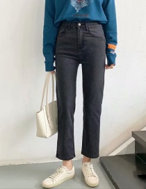 Fashion Gray High-rise Stretch-fit Straight-leg Jeans