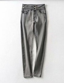 Fashion Gray Washed Buckled Panel Skinny Jeans