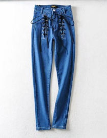 Fashion Blue Lace Up Washed Slim Jeans