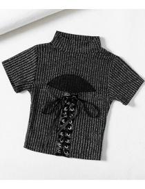 Fashion Black Drawstring Bright Silk Stretch Short-sleeved Sweater On Chest