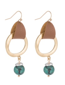 Fashion Green Alloy Natural Stone Leather Hoop Earrings