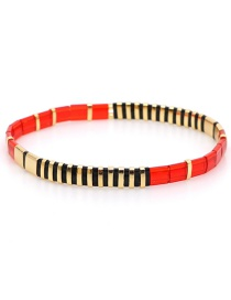 Fashion Red + Gold Alloy Woven Beaded Bracelet