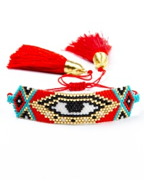 Fashion Red Hand-woven Rice Bead Eye Tassel Bracelet