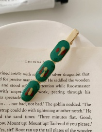 Fashion Oval-green Hand Drawn Oil Painting Geometric Oval Hair Clip