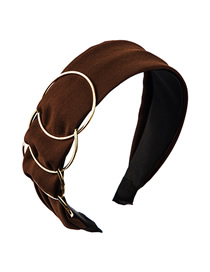 Fashion Dark Brown Multilayer Alloy Ring Wide Edge Hair Band