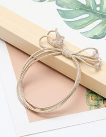 Fashion Light Powder Multi-layer Rubber Band Bow Crystal Elastic Hair Rope
