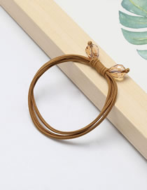 Fashion Brown Yellow Multi-layer Elastic Double Crystal Hair Rope