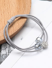 Fashion Gray Crystal Elastic Rubber Band Hair Rope