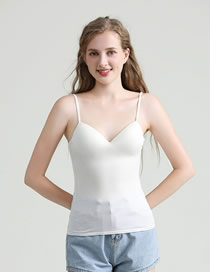 Fashion White Modal One-piece Rimless Camisole With Chest Pad