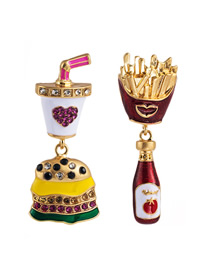 Fashion Color Alloy Dripping Diamond Hamburger French Fries Earrings