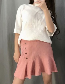 Fashion Pink Side-breasted A-line Skirt