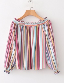 Fashion Color Striped Leaky Shoulder Collar Fungus Shirt