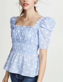 Fashion Blue Floral Print Square Neck Pleated Shirt