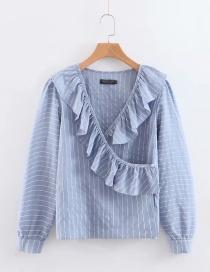 Fashion Blue Ruffled Striped Shirt