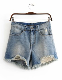 Fashion Blue Washed Denim Cotton Ripped A-line Shorts