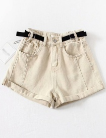 Fashion Beige Washed Belt Stitching Denim Shorts