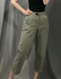 Fashion Green Washed Cropped Pants
