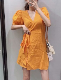 Fashion Orange Red Double-breasted Linen V-neck Lace Dress