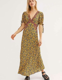 Fashion Yellow V-neck Dress With Embroidery And Flower Print