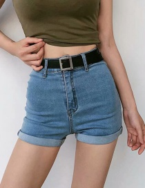 Fashion Light Blue Washed Curled A-line Shorts