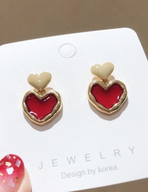 Fashion Red 925 Silver Pin Love Earrings