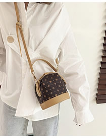 Fashion Coffee Color Printed Stitched Contrast Crossbody Shoulder Bag