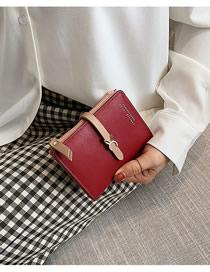 Fashion Red Wallet Trim Short Wallet