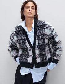 Fashion Black Checked Single-breasted V-neck Sweater Coat