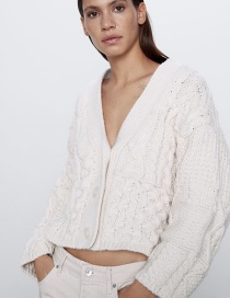 Fashion Creamy-white Eight-knit V-neck Short Sweater Coat