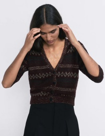 Fashion Red Wine Knit Cardigan With Faux Stone Button