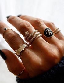Fashion Golden Serpentine Eye Geometric Ring Set