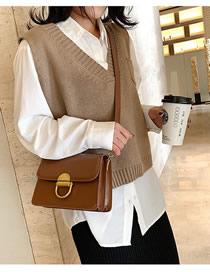 Fashion Brown Locked Flap Shoulder Crossbody Bag