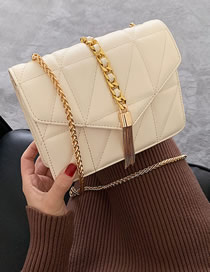Fashion Off-white Gold Hardware Chain Embroidered Fringed Shoulder Bag