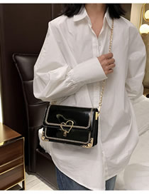 Fashion Black Patent Leather Sequin Chain Embroidered Flap Shoulder Bag