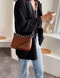 Fashion Brown Chain Stud Stitched Crossbody Bag