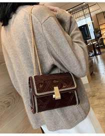 Fashion Coffee Color Lacquered Chain And Chain Shoulder Bag