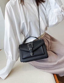 Fashion Black Studded Chain Shoulder Bag