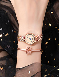 Fashion Rose Gold With Rose Gold Face Alloy Diamond Bracelet Watch
