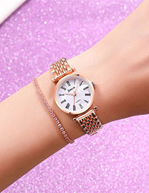 Fashion Rose Gold With White Surface Marble Face Roman Scale Quartz Steel Band Bracelet Watch