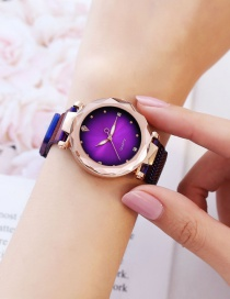 Fashion Purple Quartz Watch With Diamond And Iron Mesh