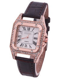 Fashion Black Leather Watch With Square Diamonds