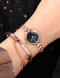 Fashion Rose Gold With Black Face Alloy Quartz Steel Band Watch