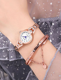 Fashion Rose Gold With White Surface Diamond Bracelet Watch