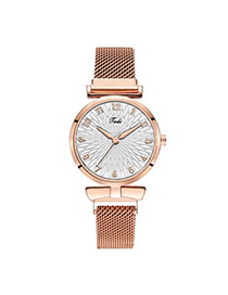 Fashion Rose Gold With White Surface Digital Face Quartz Magnet Watch