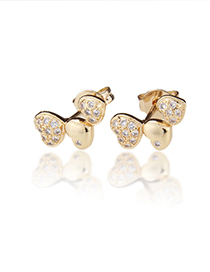 Fashion White Zirconium Copper Plating Three Heart White Zirconium Color Zirconium Stud Earrings