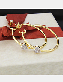 Fashion Golden Copper Plated Heart Shaped Zirconium Round Earrings