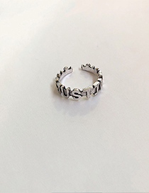 Fashion Letter (open) Silver Metal Letter Smiley Ring