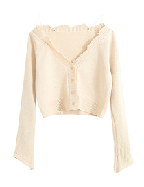 Fashion Beige Chain Stitching V-neck Raw Cardigan
