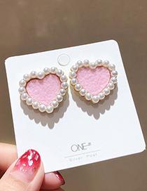 Fashion Pink 925 Silver Pin Suede Heart Pearl Earrings