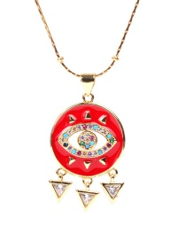 Fashion Red Micro Set Zircon Eye Stainless Steel Necklace